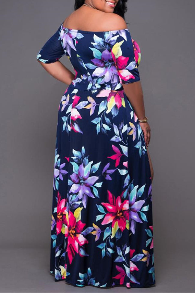 Plus size digital printed split dress-Dresses>Long>Sexy-Chicbela