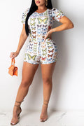 Butterfly Print Short Sleeve Two Piece Sets-Sets-Chicbela