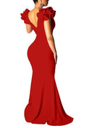 Petal Sleeve V Neck Solid Color Maxi Dress-Dresses-Chicbela