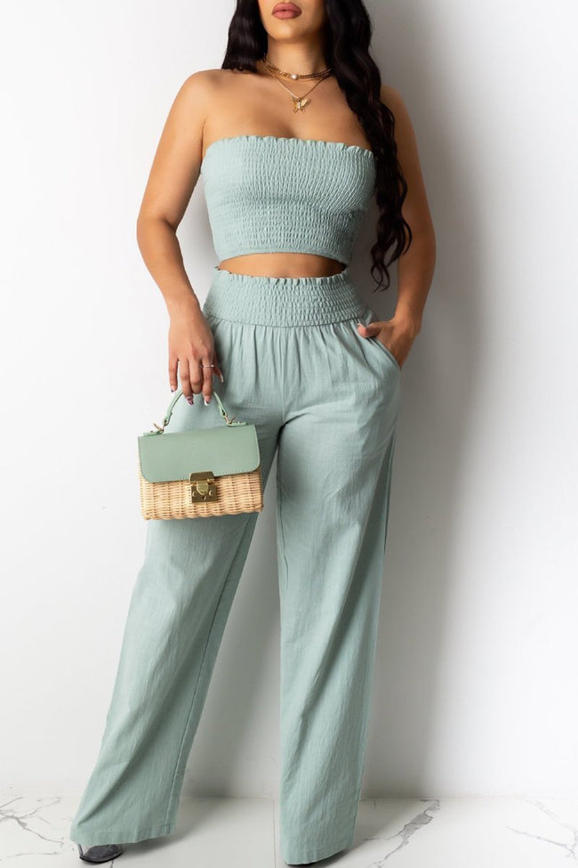 Strapped High Waist Wrinkled Top & Pants-Sets>Pant Sets>Solid-Chicbela