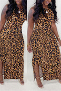 Leopard Print Sleeveless Side Slit Dress-Dresses-Chicbela