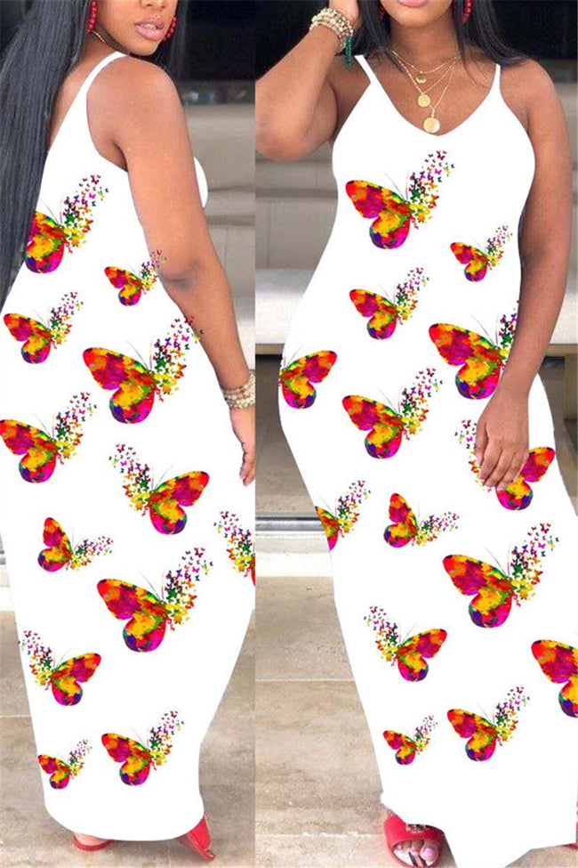 Spaghetti Straps Butterfly Print Maxi Dress-Dresses-Chicbela