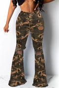 Camouflage Print Hole Distressed Denim Pants-Bottoms-Chicbela