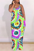Spaghetti Straps Tie Dye Casual Maxi Dress-Dresses-Chicbela