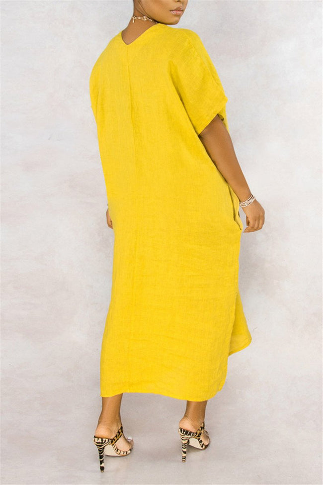 V Neck Solid Color Pocket Casual Dress-Dresses-Chicbela