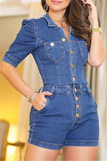Button Up Short Sleeve Pocket Denim Romper-Jumpsuits-Chicbela