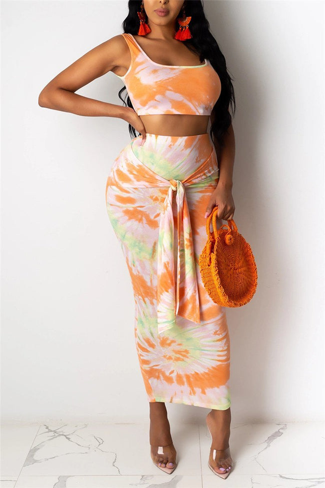 Sleeveless Tie Dye Print Two Piece Dress-Dresses-Chicbela