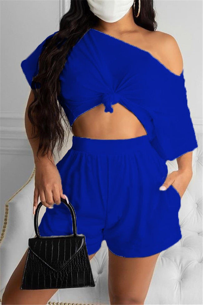 Solid Color Skew Neck Pocket Casual Two Piece Sets-Sets-Chicbela