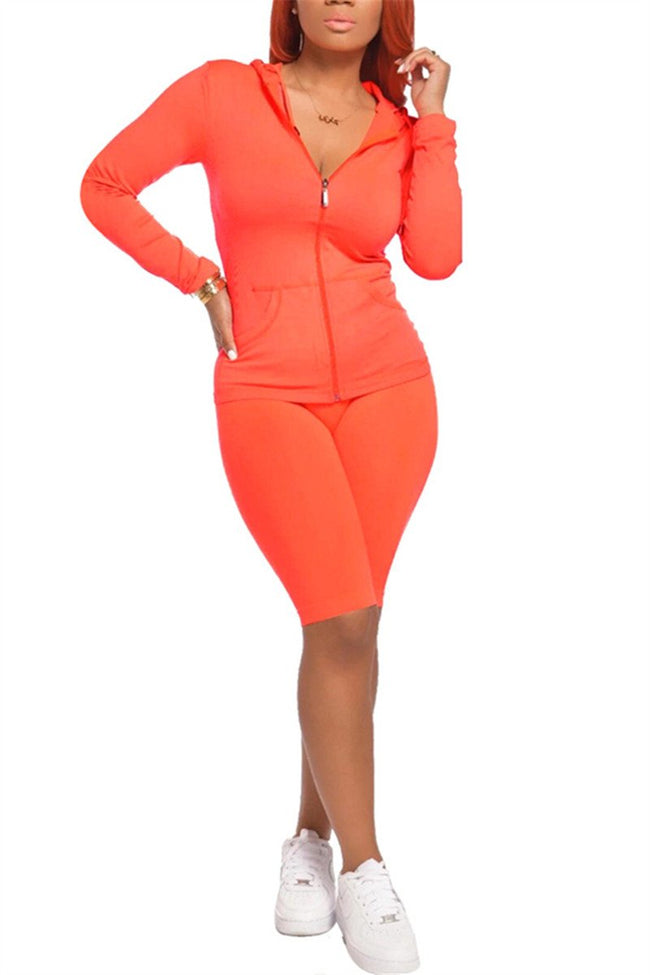 Zip Up Solid Color Hooded Casual Two Piece Sets-Sets-Chicbela