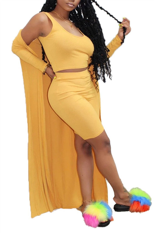 Solid Color Long Sleeve Three Piece Sets-Sets-Chicbela