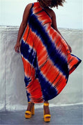 One Shoulder Tie Dye Plus Size Dress-Dresses-Chicbela