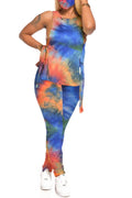 Sleeveless Tie Dye Strapped Two Piece Sets-Sets-Chicbela