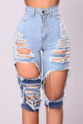 High-elastic Distressed Color Block Denim Shorts-Bottoms-Chicbela