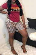 Leopard Print Patchwork Plus Size Top & Shorts-Sets-Chicbela