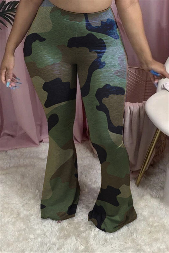 High Waist Camouflage Print Flared Pants-Bottoms>Pants>Casual-Chicbela