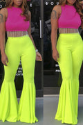 High Waist Solid Color Flared Pants-Bottoms>Pants>Solid-Chicbela