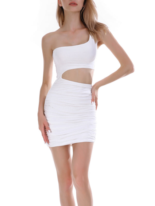 One Shoulder Tight Mini Party Night Club Dress-Dresses-Chicbela