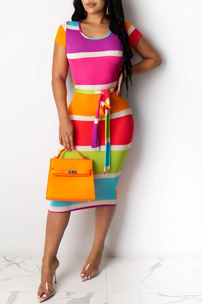 Rainbow Striped Lace-up Open Back Dress-Dresses-Chicbela