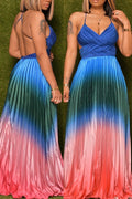 Criss Cross Colorful Pleated Maxi Dress-Dresses-Chicbela
