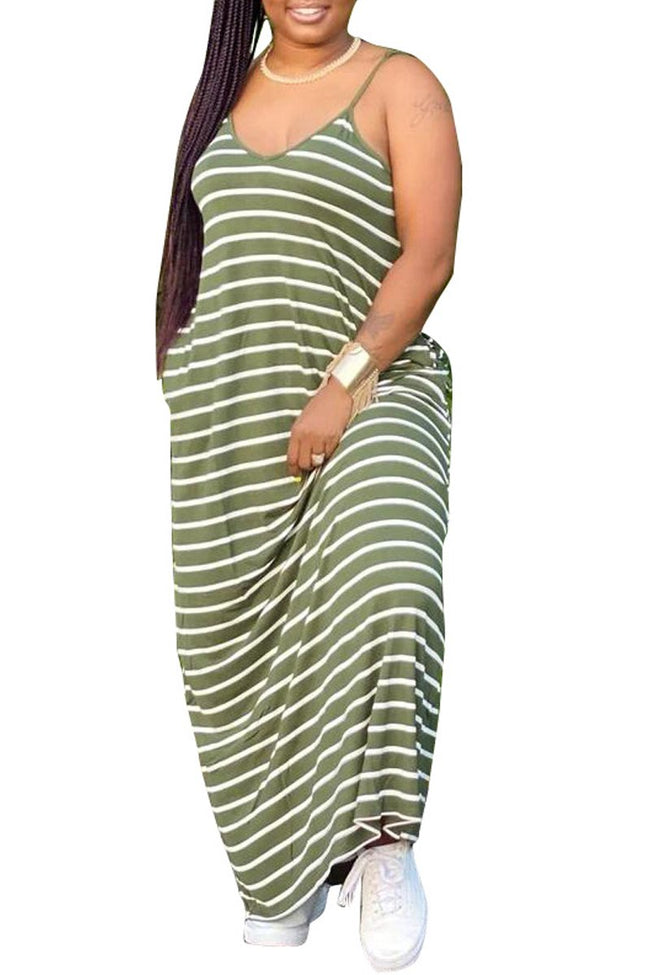 Spaghetti Straps Plus Size Stripe Print Dress-Dresses-Chicbela