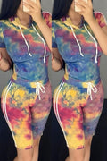 Side Striped Tie Dye Hooded Top & Shorts-Sets-Chicbela