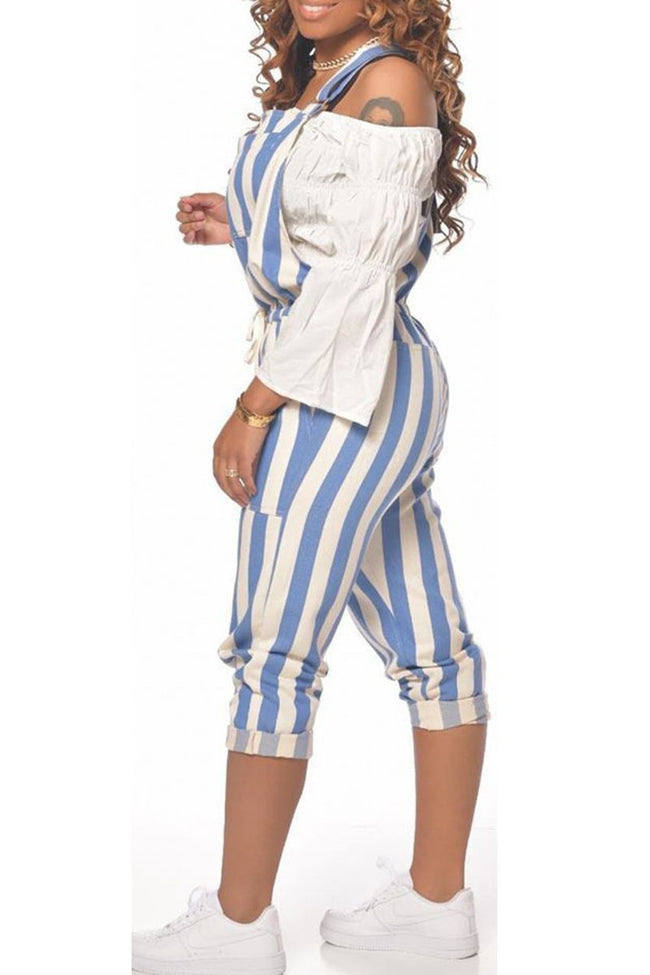 Lace Up Striped Plus Size Overall-Jumpsuits-Chicbela