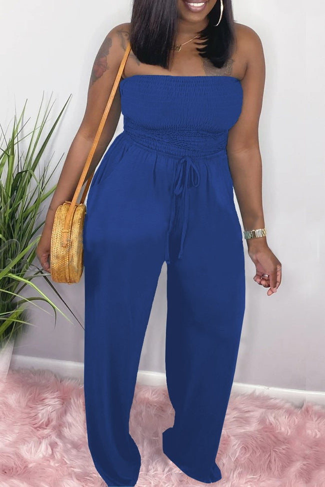 Strapless Pocket Belted Wide Leg Jumpsuit-Jumpsuits-Chicbela