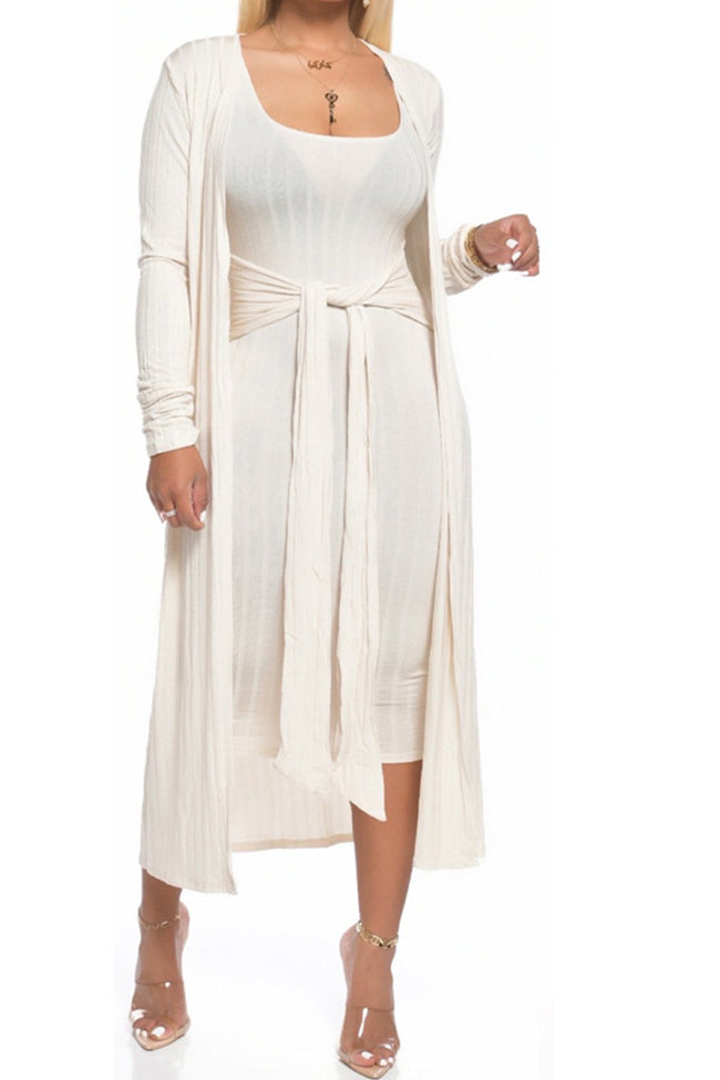 Slim-fit two-piece long coat with straps-Sets>Skirt Sets>Solid-Chicbela