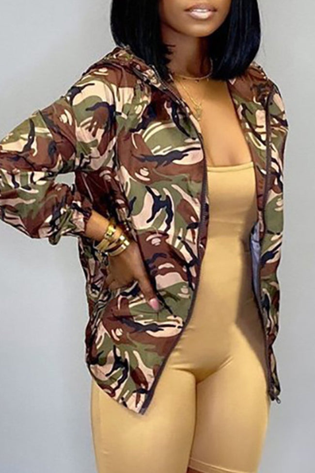 Hooded Camouflage Print Zipper Jacket-Tops>Coats>Fashion-Chicbela
