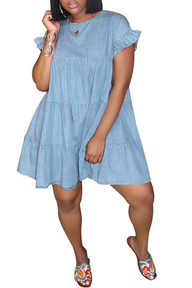 Plus size age-reducing ruffled dress-Dresses>Midi>Casual-Chicbela