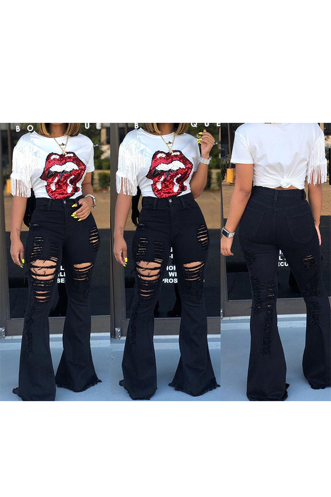 Ripped fringed flared pants-Bottoms-Chicbela