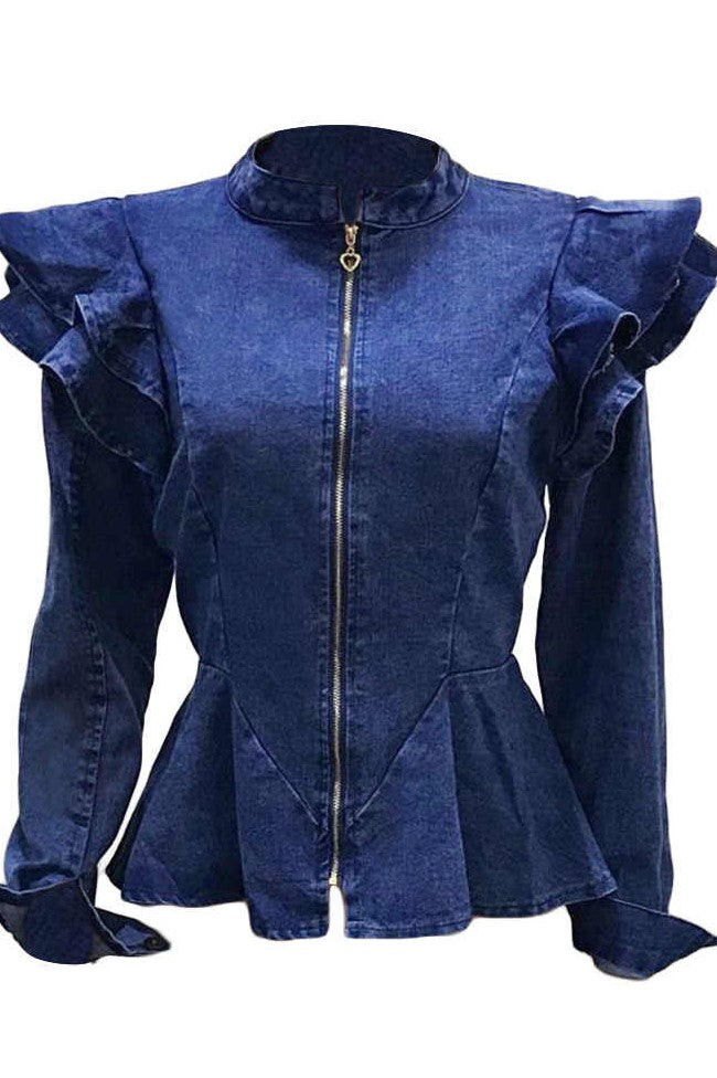 Sexy Ruffled Fashion Denim Jacket-Coats-Chicbela