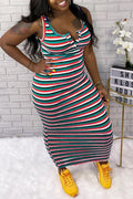 Plus Size Rainbow Striped Scoop Neck Dress-Dresses>Long>Striped-Chicbela