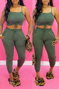 Lace Up High Waist Solid Color Top & Pants-Sets-Chicbela