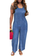 Denim Scoop Neck Pocket Jumpsuit-Jumpsuits-Chicbela
