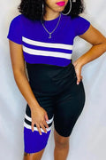 Striped Patchwork Short Sleeve Top & Shorts-Sets-Chicbela