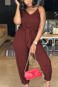 Sleeveless Solid Color Casual Jumpsuit-Jumpsuits-Chicbela