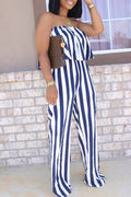 Striped Strapless Ruffled Casual Jumpsuit-Jumpsuits-Chicbela