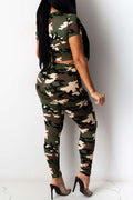 Hole Distressed Camouflage Print Two Piece Sets-Sets-Chicbela