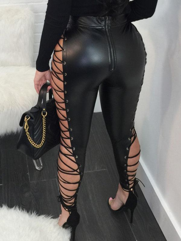 Sexy PU Lace-up Pants-Pants-Chicbela
