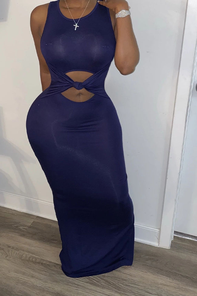 Sexy solid color sleeveless dress-Dresses>Long>Solid-Chicbela