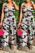Scoop Neck Camouflage Printed Sleeveless Jumpsuit-Jumpsuits-Chicbela