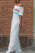 Skew Neck Rainbow Striped pocket Maxi Dress-Dresses-Chicbela