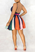 Colorful Spaghetti Straps Open Back Mini Dress-Dresses-Chicbela
