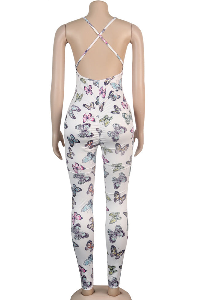 Floral sleeveless sexy backless butterfly jumpsuit-Jumpsuits-Chicbela