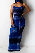 Tie Dye Sleeveless Maxi Dress With Belt-Dresses-Chicbela