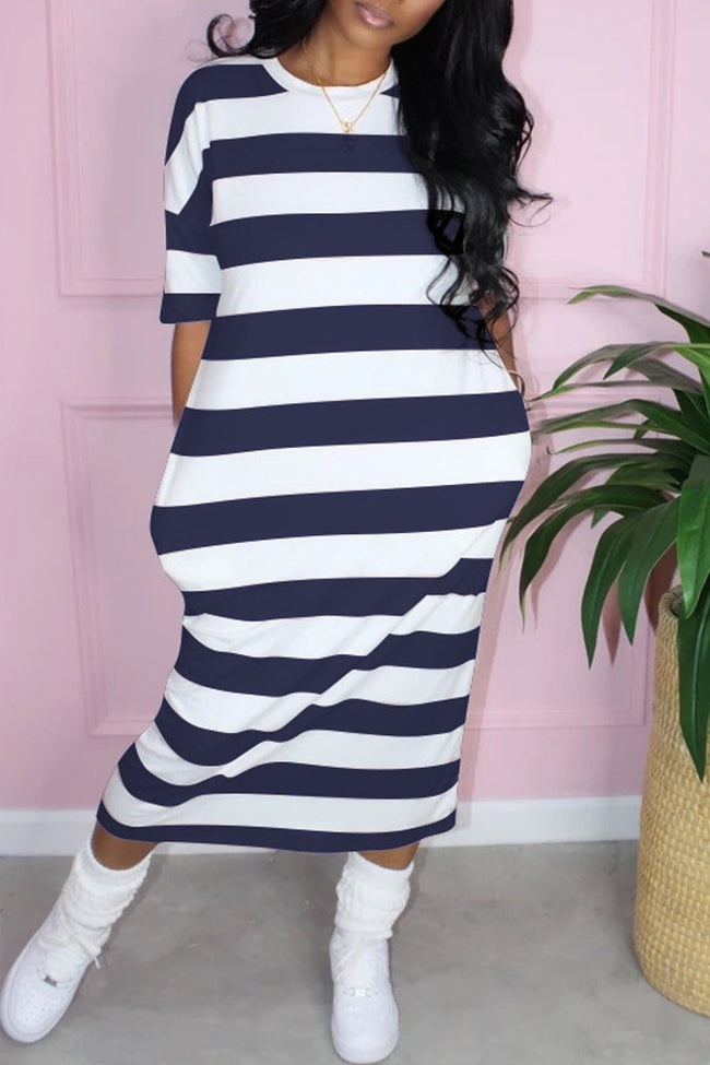 Stripe Print Loose Pocket Midi Dress-Dresses-Chicbela
