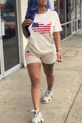 American Flag Print Short Sleeve Two Piece Sets-Sets-Chicbela