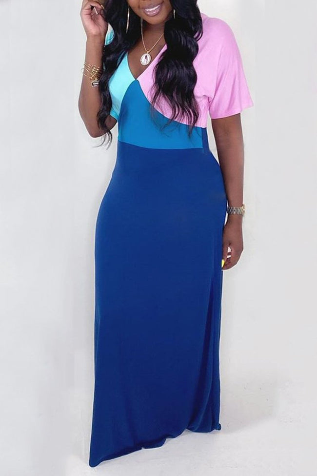 Color Block Short Sleeve Maxi Dress-Dresses-Chicbela