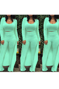 Three Pieces Outfits Long Sleeves Cardigan Nightclub Sports Pants Suits Candy Colors-Sets-Chicbela